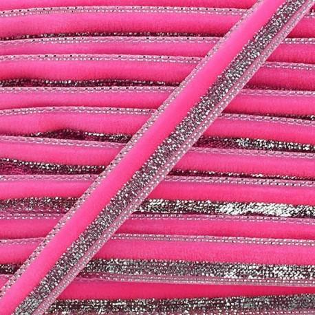 Lurex braid trimming, disco 10mm - fluorescent pink