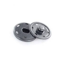 Metal Sew-on snap button - black nickel-plated