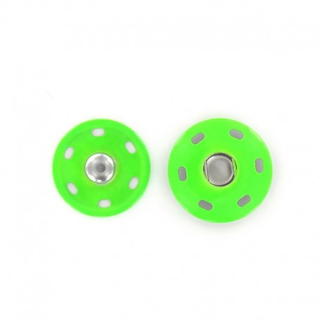 Metal Sew-on snap button 20 mm - fluorescent green