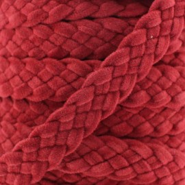 Braided trimming ribbon, buckskin aspect x 50cm - carmine red