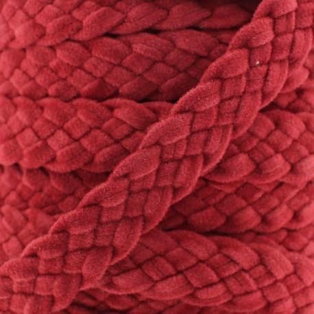 Braided trimming ribbon, buckskin aspect x 50cm - carmine red