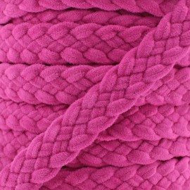 Braided trimming ribbon, buckskin aspect x 50cm - fuchsia
