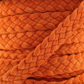 Braided trimming ribbon, buckskin aspect x 50cm - brick-red