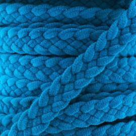 Braided trimming ribbon, buckskin aspect x 50cm - bright blue