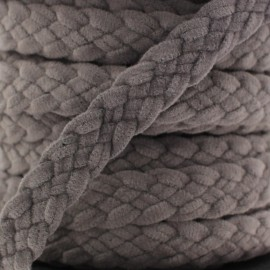 Braided trimming ribbon, buckskin aspect x 50cm - dark grey