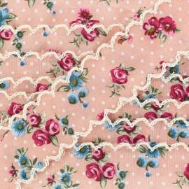 Ruban festonné fleurs rose