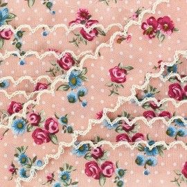 Scalloped ribbon, Flowers - Pink