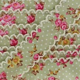 Scalloped ribbon, Flowers - Green