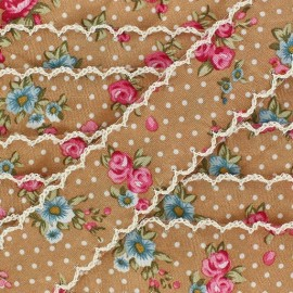 Scalloped ribbon, Flowers - Brown