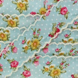 Scalloped ribbon, Flowers - light blue