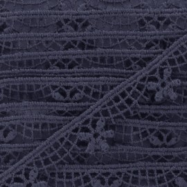 Guipure lace ribbon, Flowers Lily 15 mm - navy