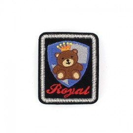 Royal Teddy badge iron-on applique - black