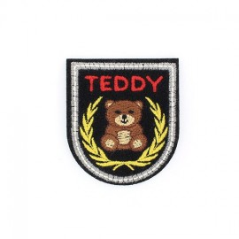 Teddy badge iron-on applique - black