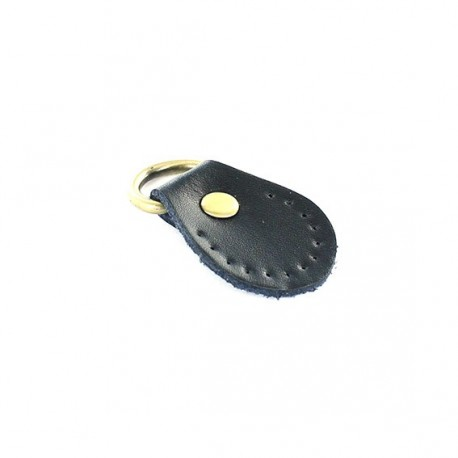 Leather tab with ring Gendry - Black