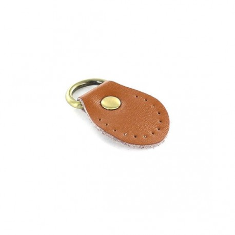 Leather tab with ring Gendry - Camel