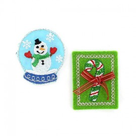 "Christmas ""Candy-cane & snowman"" iron-on applique - green/red"