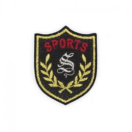 Glitter Sports emblem iron-on applique - black