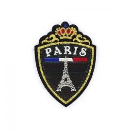 Glitter Paris Emblem iron-on applique - black