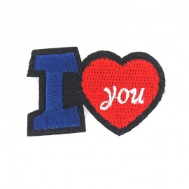 I love you iron-on applique - blue/red