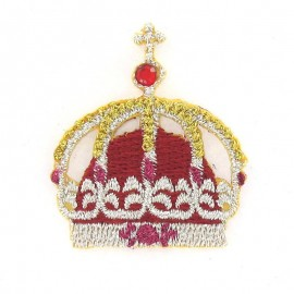 Decorated crown iron-on applique - golden/red