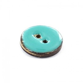 Coconut button, varnished - plain turquoise