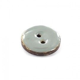 Coconut button, varnished, 18 mm - plain grey