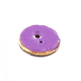 Coconut button, varnished - plain purple