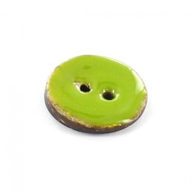 Coconut button, varnished - plain light green