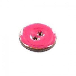 Coconut button, varnished, 18 mm - plain fuchsia