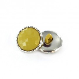 Metal / polyester button, Phoebe - mustard yellow