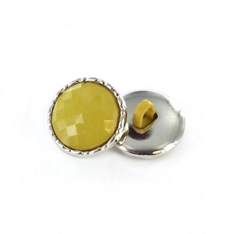 Bouton métal / polyester Phoebe Jaune moutarde