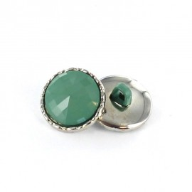 Metal / polyester button, Phoebe - meadow green