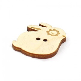 Wooden button, Paapii Design Bunny - brown
