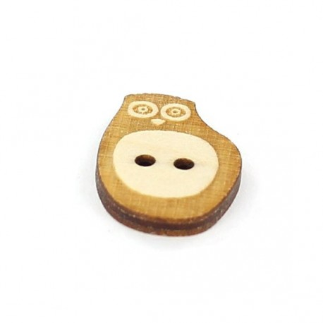 Wooden button, Paapii Design Owl - brown