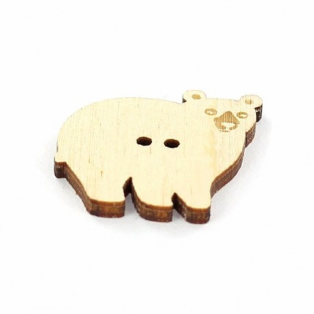 Wooden button, Paapii Design Bear - brown