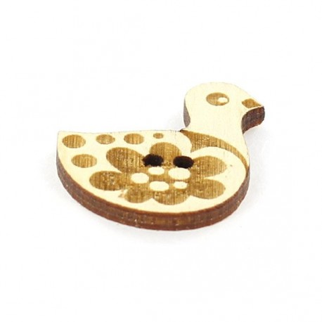 Wooden button, Paapii Design Duck - brown