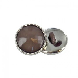 Metal / polyester button, Phoebe - taupe