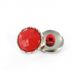 Metal / polyester button, Phoebe - red