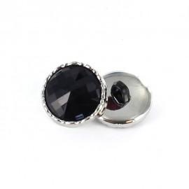 Metal / polyester button, Phoebe - black