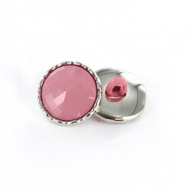 Metal / polyester button, Phoebe - pink