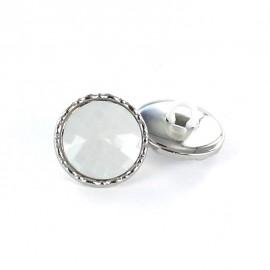 Metal / polyester button, Phoebe - white