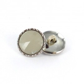 Metal / polyester button, Phoebe - pearl grey