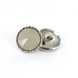 Bouton métal / polyester Phoebe Gris perle