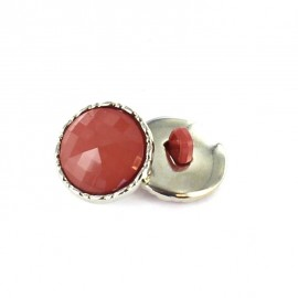 Metal / polyester button, Phoebe - brick-red