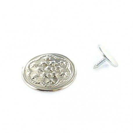 Button, for denims, star patterns - nickel-plated