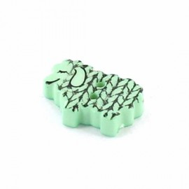 Polyester Button, graphic sheep - light green