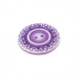 Polyester button, Floral - purple