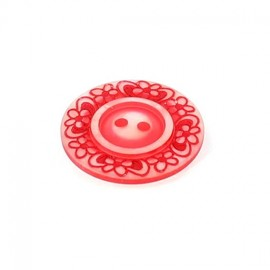 Polyester button, Floral - red