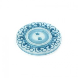 Polyester button, Floral - light blue