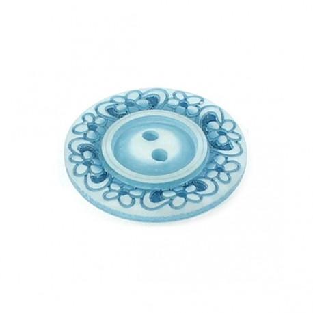 Bouton polyester Floral bleu ciel